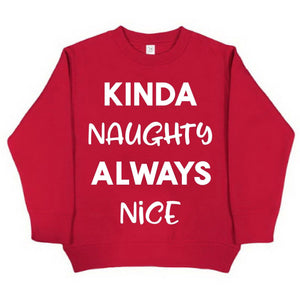 Kinda Naughty, Always Nice - Fleece pullover-Little Hooligans Co.