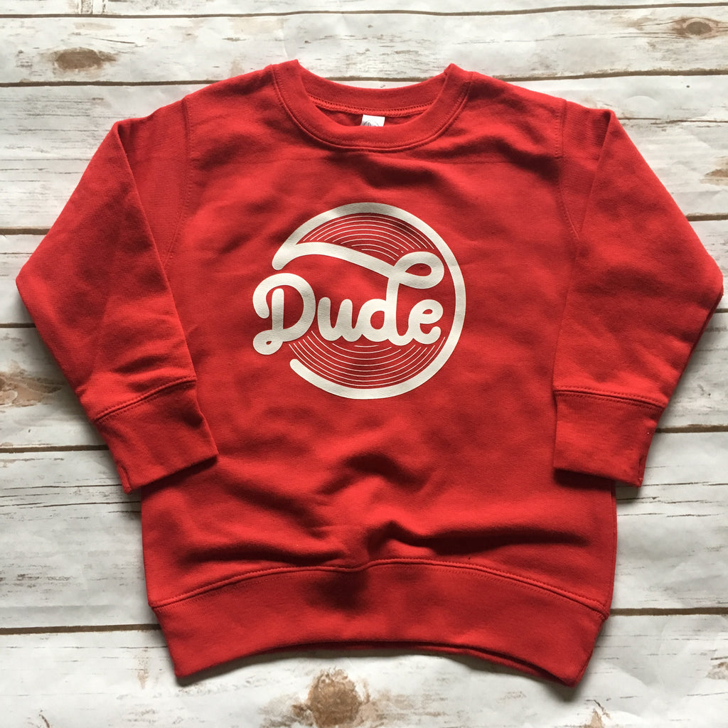 Dude - Red + White Kids Pullover-Little Hooligans Co.