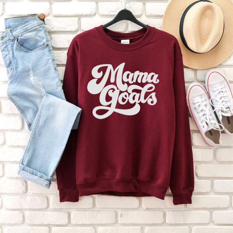 Mama Goals (Maroon + Grey) - Unisex Fleece Pullover-Little Hooligans Co.
