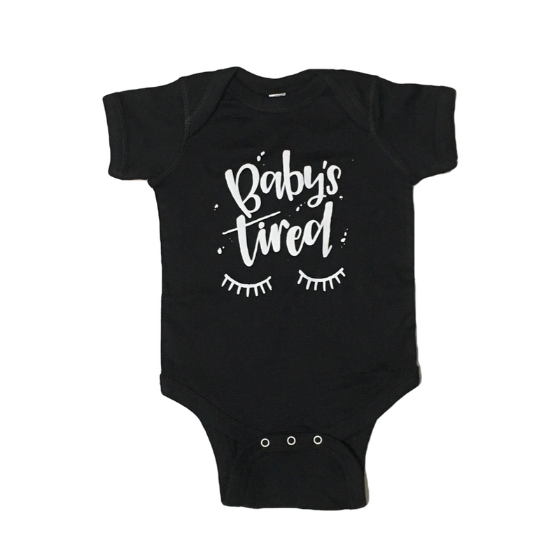 Baby's Tired - Black Bodysuit-Little Hooligans Co.