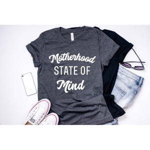 Motherhood State Of Mind - Unisex Heather Charcoal Tee - Little Hooligans Co.