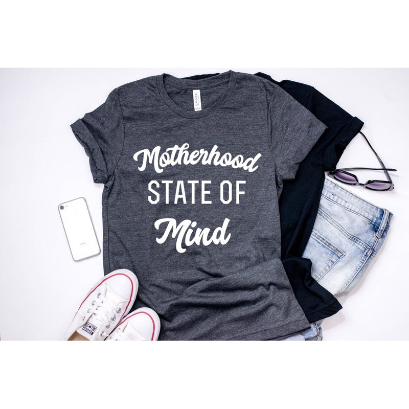 Motherhood State Of Mind - Unisex Heather Charcoal Tee-Little Hooligans Co.