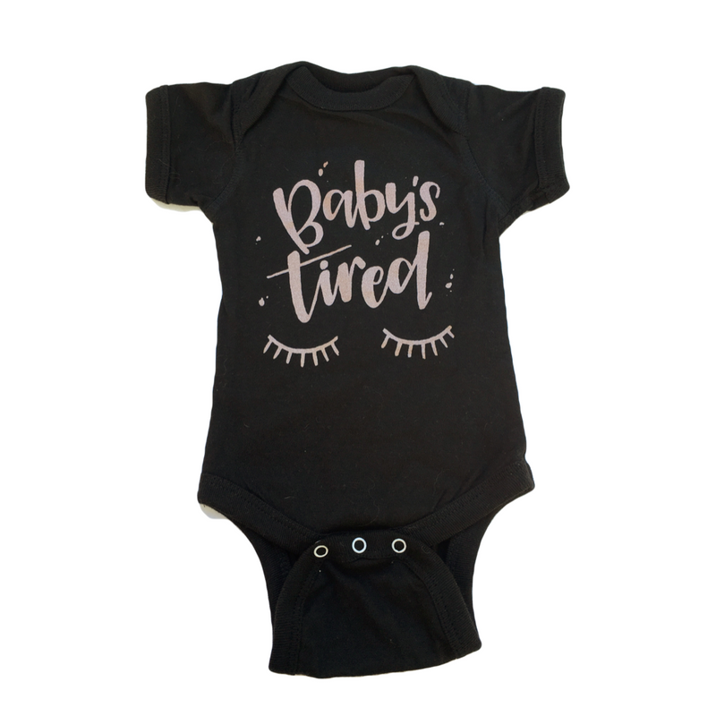 Baby's Tired - Rose Gold Bodysuit-Little Hooligans Co.