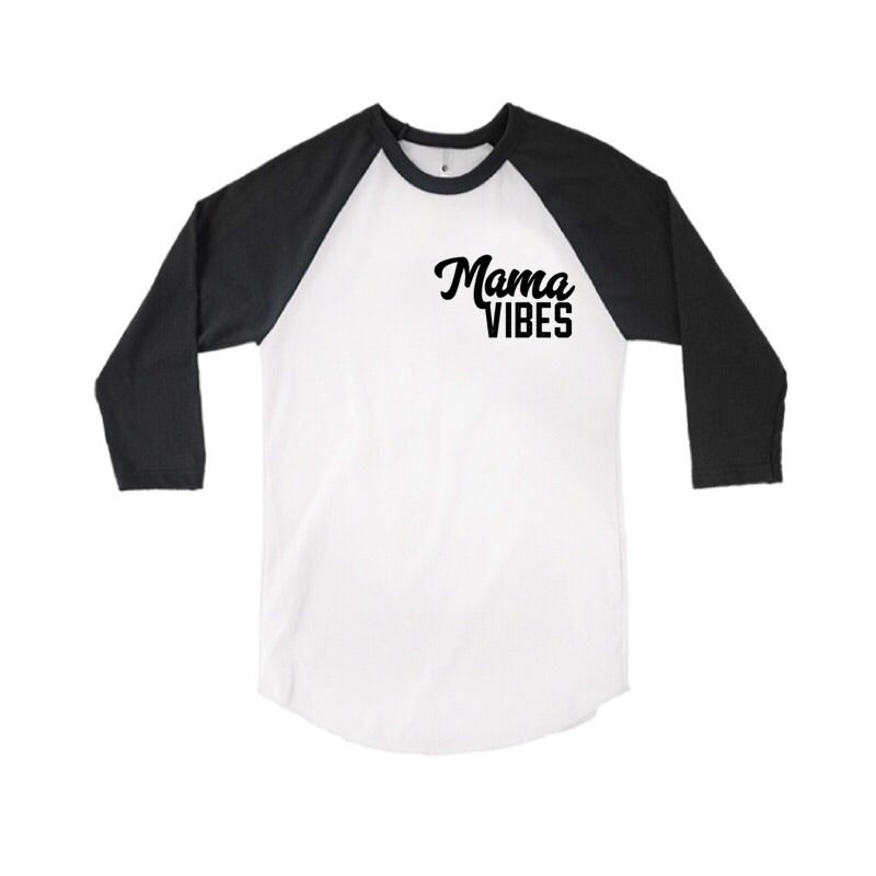 Mama Vibes - Chest Logo - Black/White Raglan-Little Hooligans Co.