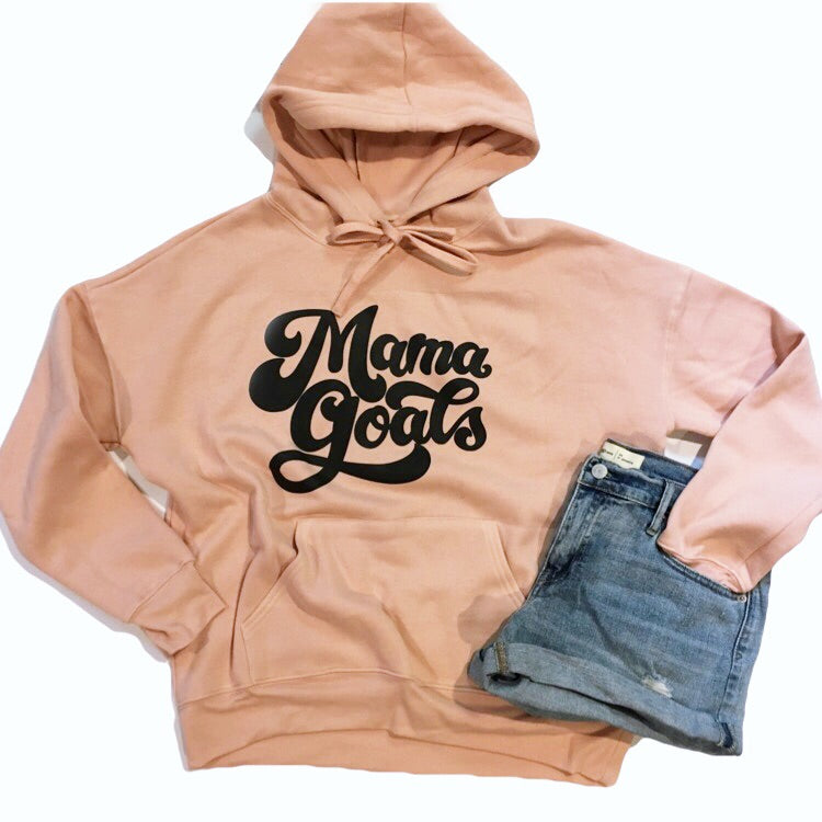 Mama Goals - Unisex Peach Fleece Hoodie-Little Hooligans Co.