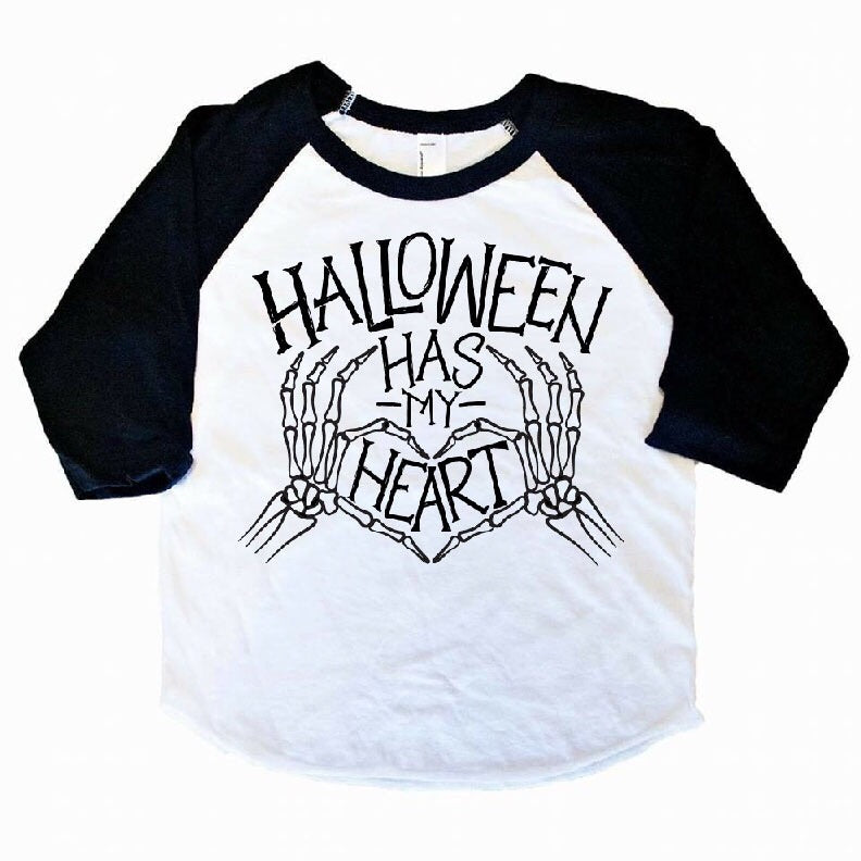 Halloween Has My Heart - Kids 3/4 Sleeve Raglan-Little Hooligans Co.
