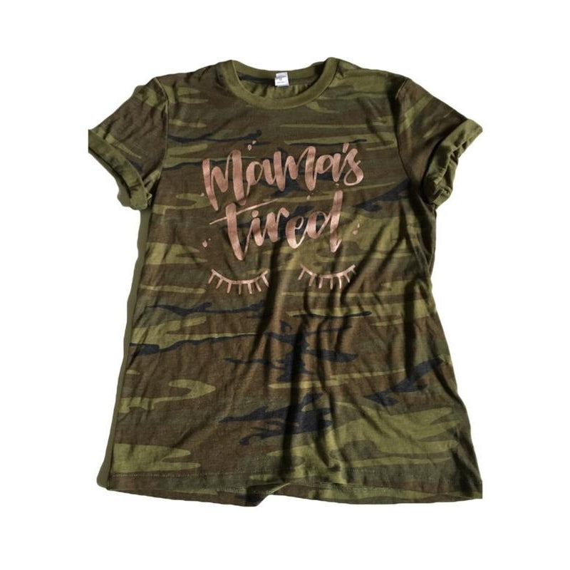 Mama's Tired Rose Gold - Camo Tee-Little Hooligans Co.