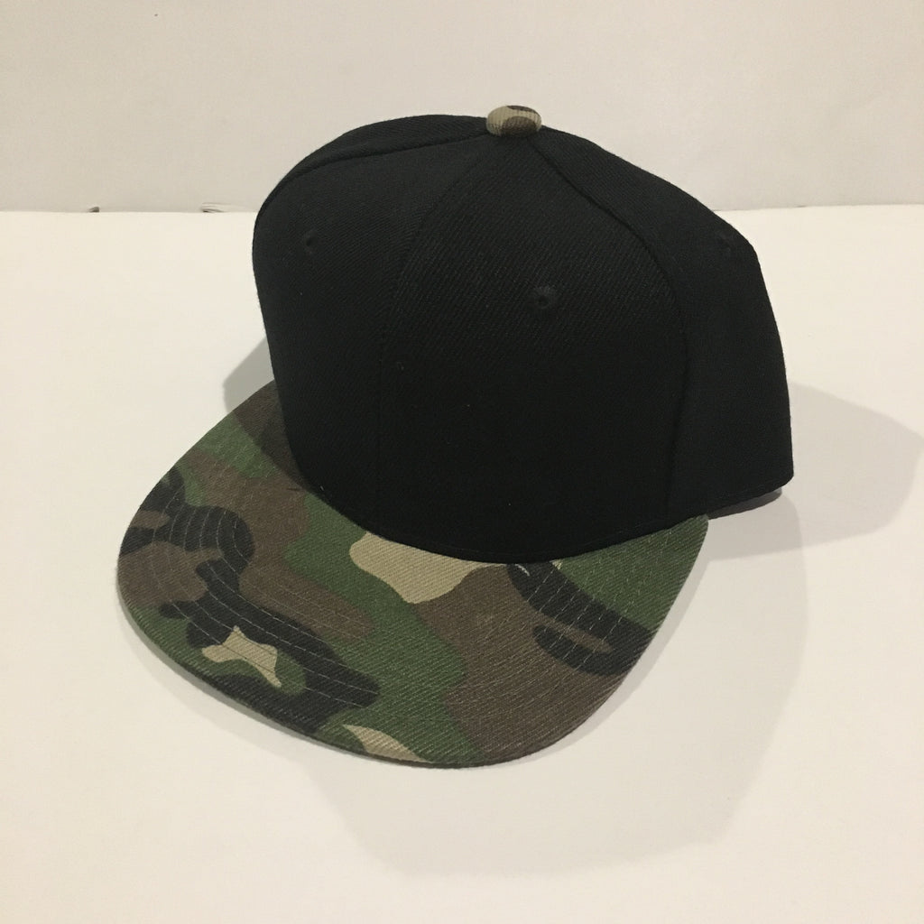 Camo (bill) + Black Snapback - Kids - Little Hooligans Co.