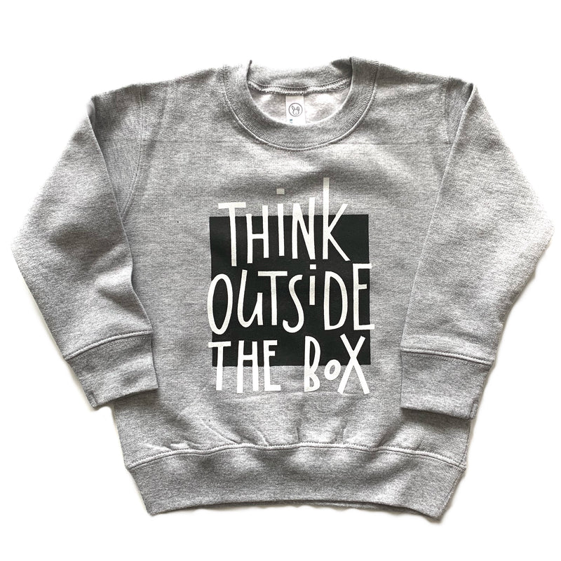 Think Outside The Box - Kids Grey Pullover-Little Hooligans Co.