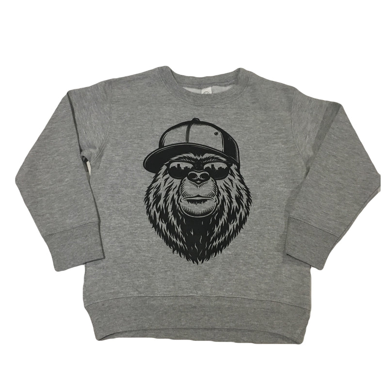 NYC Bear - Grey Fleece Pullover-Little Hooligans Co.