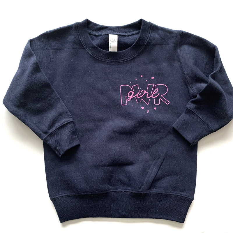 Girl Power - Navy Fleece Pullover-Little Hooligans Co.