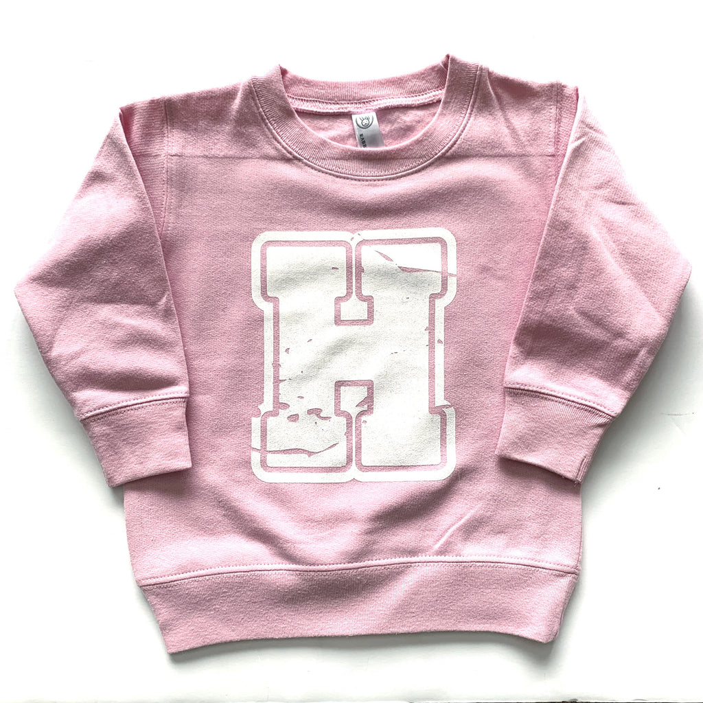 Varsity H - Pink Fleece Pullover - Little Hooligans Co.