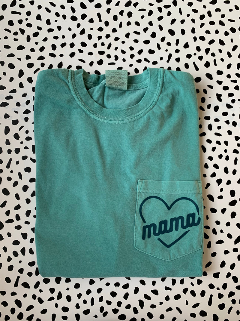 Mama (heart) - Unisex Seafoam ComfortColors Longsleeve-Little Hooligans Co.