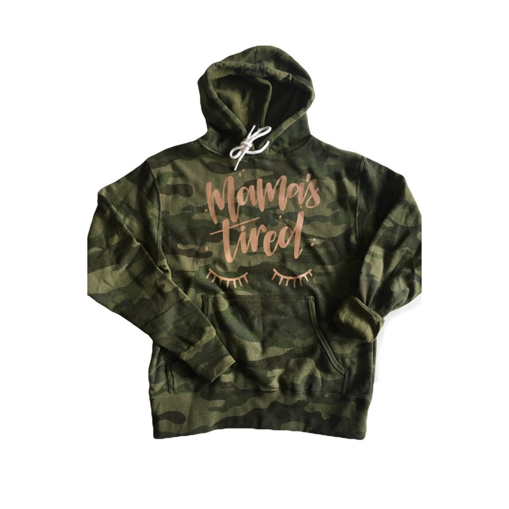 Mamas Tired Rose Gold - Unisex Camo Hoodie-Little Hooligans Co.