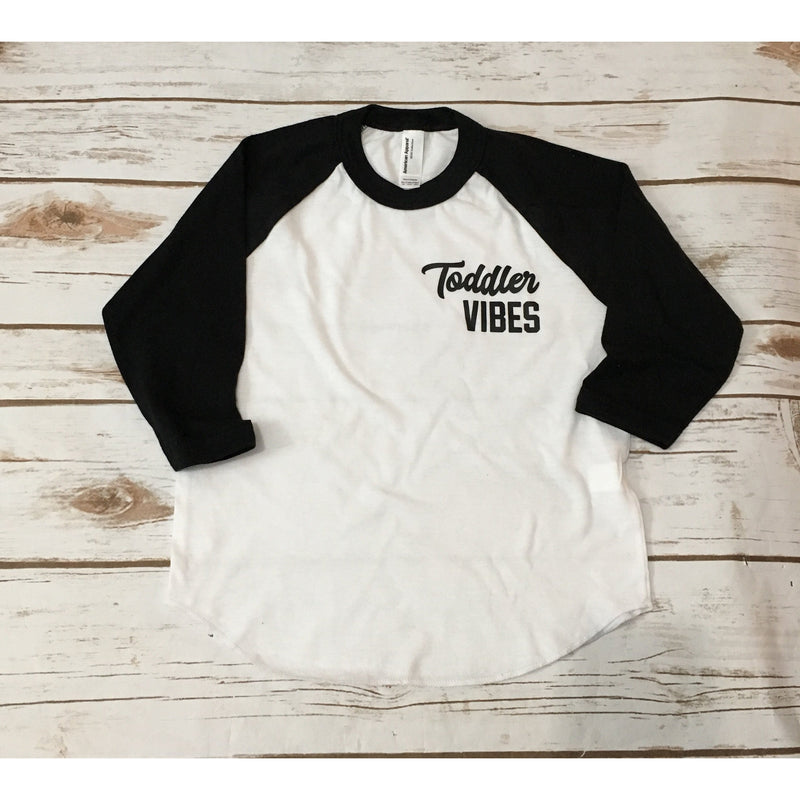 Toddler Vibes Chest Logo - Black/White Raglan-Little Hooligans Co.