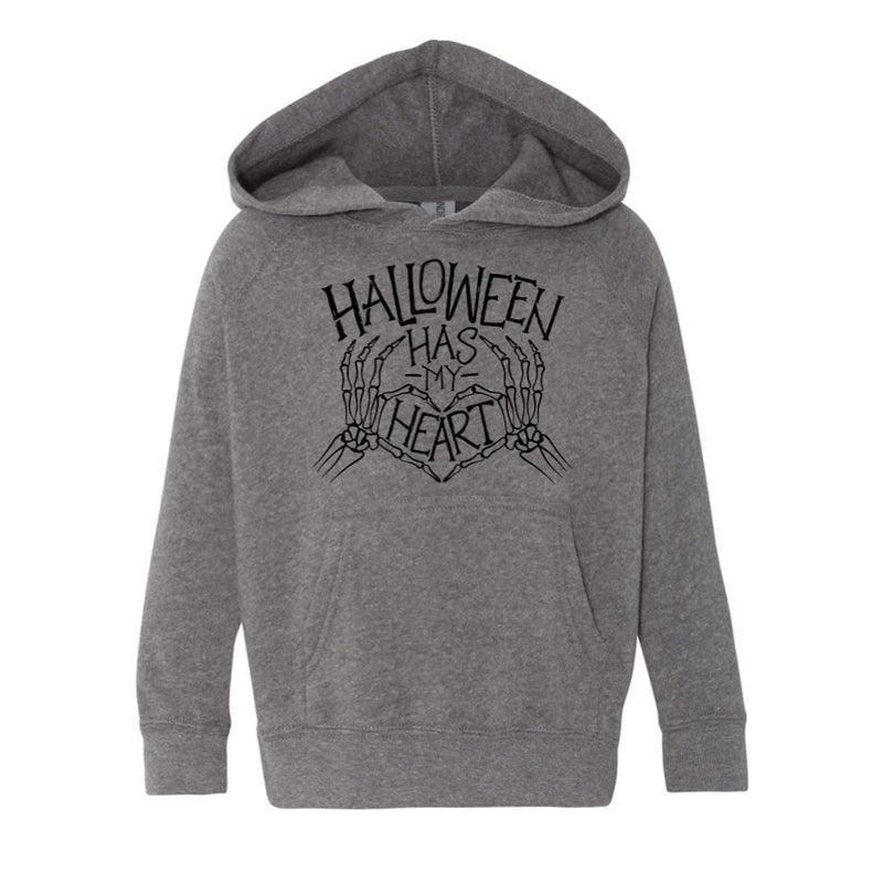 Halloween Has My Heart - Grey Kids Hoodie-Little Hooligans Co.