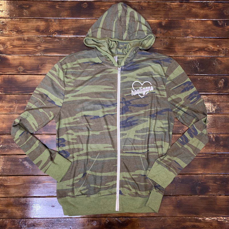 Hooligan Heart - Unisex Camo Zip Up-Little Hooligans Co.