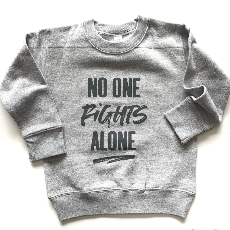 No One Fights Alone - Grey Fleece Pullover - Little Hooligans Co.