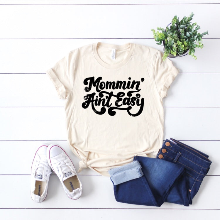 70's Mommin Aint Easy - Cream + Black Unisex-Little Hooligans Co.