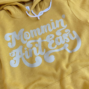 Mommin' Ain't Easy (distressed) - Mustard + Grey Unisex Hoodie-Little Hooligans Co.