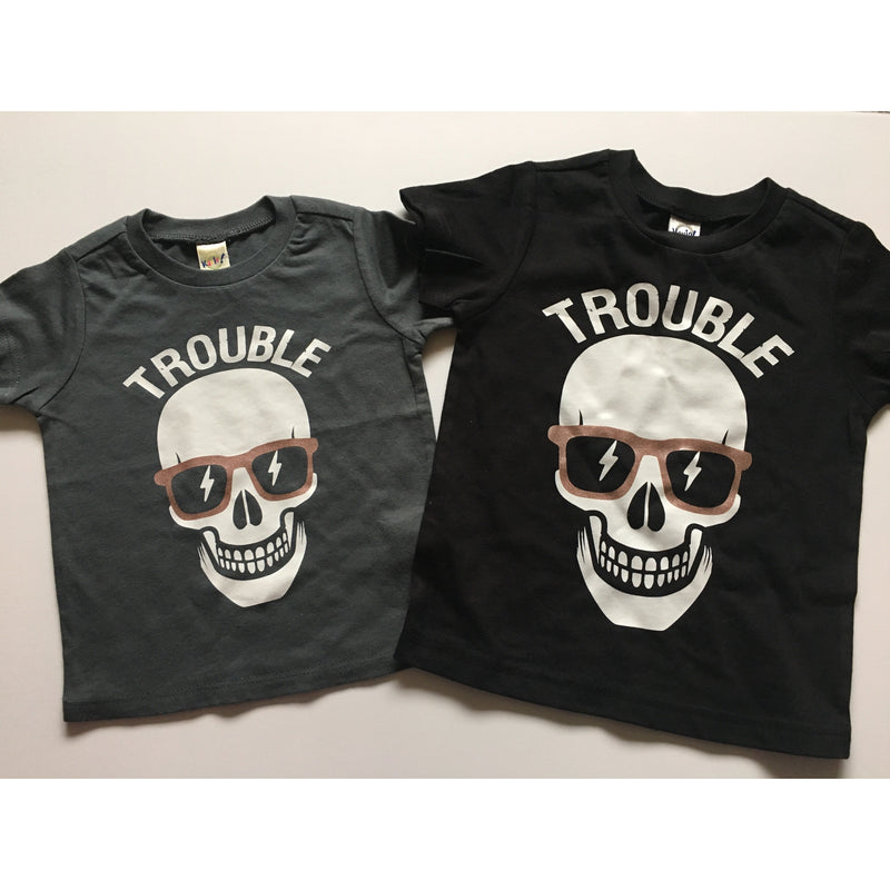 Trouble (Rose Gold Glasses) - Kids Tee-Little Hooligans Co.