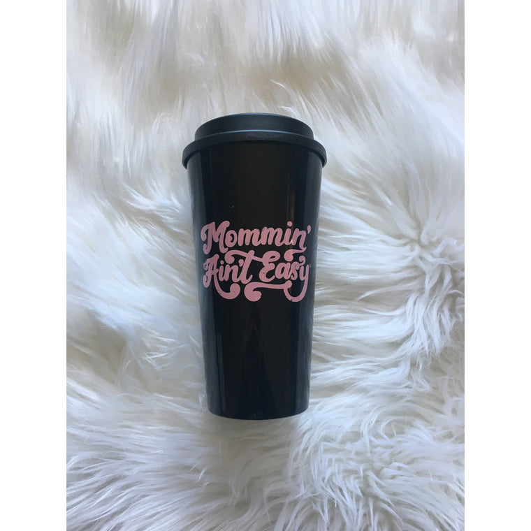70s Mommin' ain't Easy - Black/Pink Travel Mug