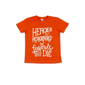 Heroes Get Remembered - Orange + White Kids Tee-Little Hooligans Co.