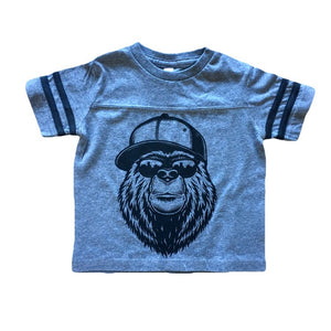 NYC Bear - Grey Football Tee-Little Hooligans Co.