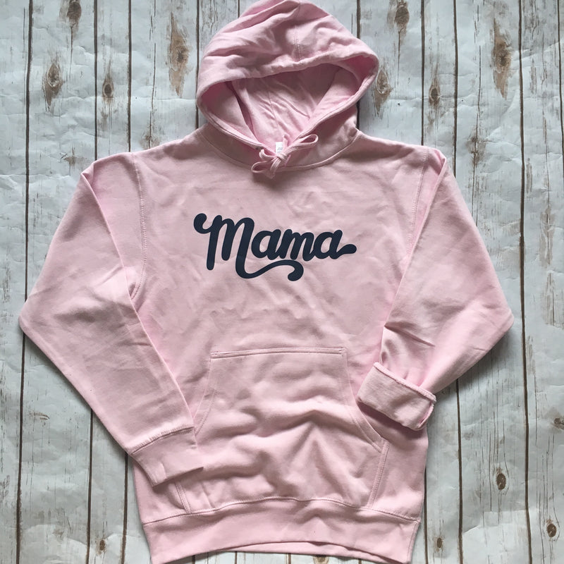Mama - Pink + Navy Unisex Hoodie-Little Hooligans Co.
