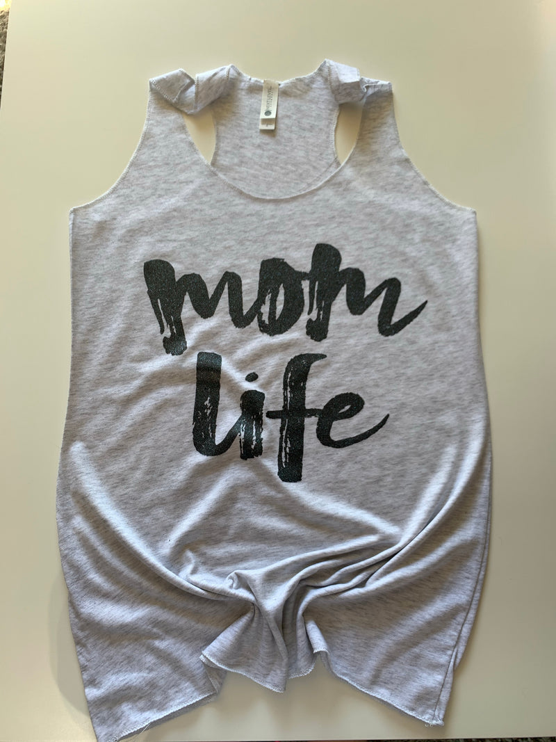 Mom Life (glitter) - Womens Ash Tank-Little Hooligans Co.