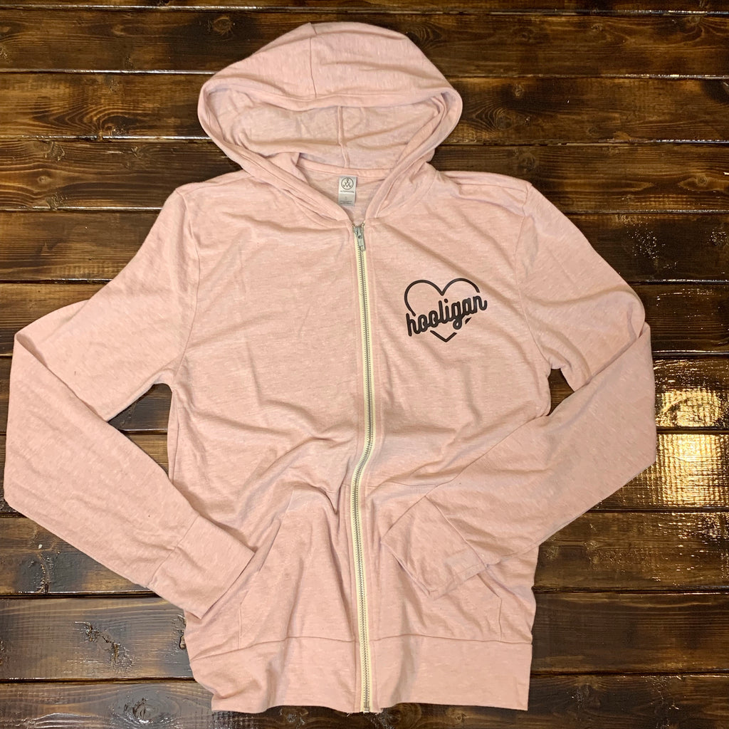 Hooligan Heart - Unisex Blush Zip Up - Little Hooligans Co.