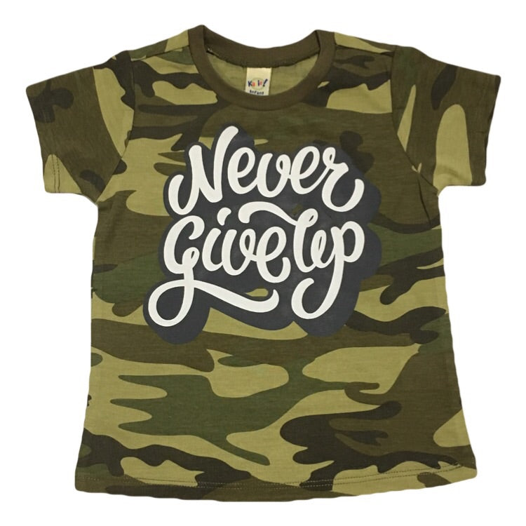 Never Give Up - Camo Kids Tee - Little Hooligans Co.