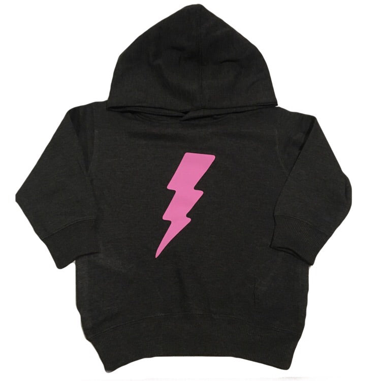 Pink Lightening Bolt - Fleece Hoodie-Little Hooligans Co.