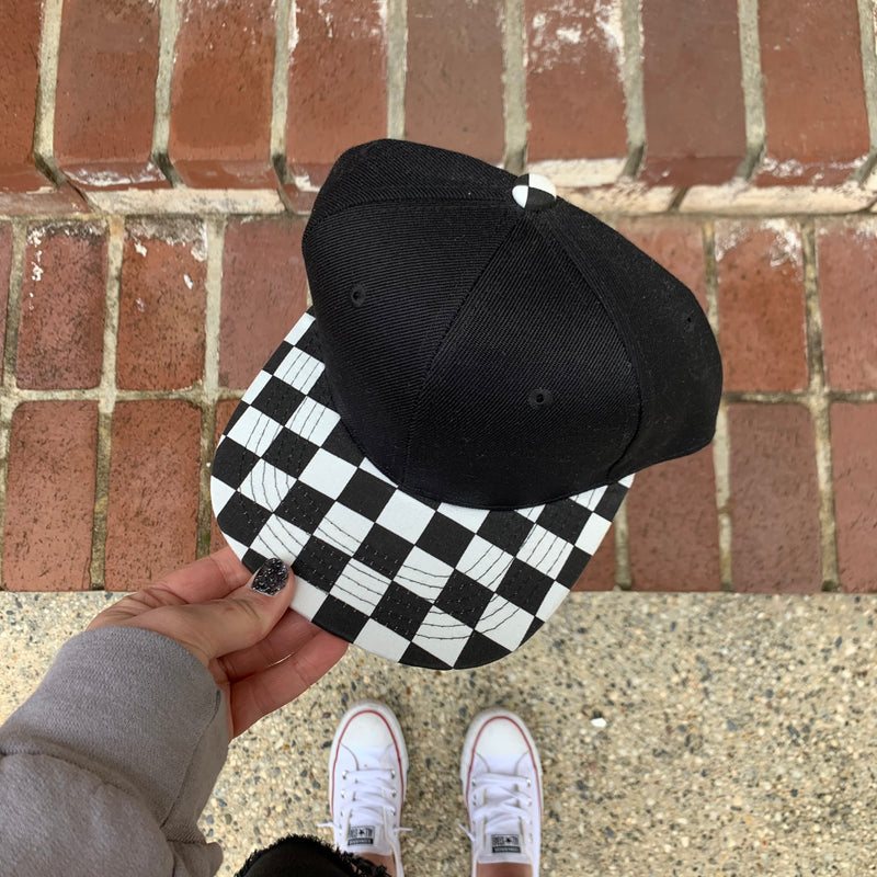 Black Checkered Bill - Kids SnapBack-Little Hooligans Co.