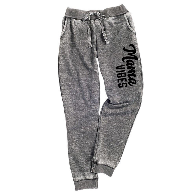 Mama Vibes - Grey Joggers-Little Hooligans Co.