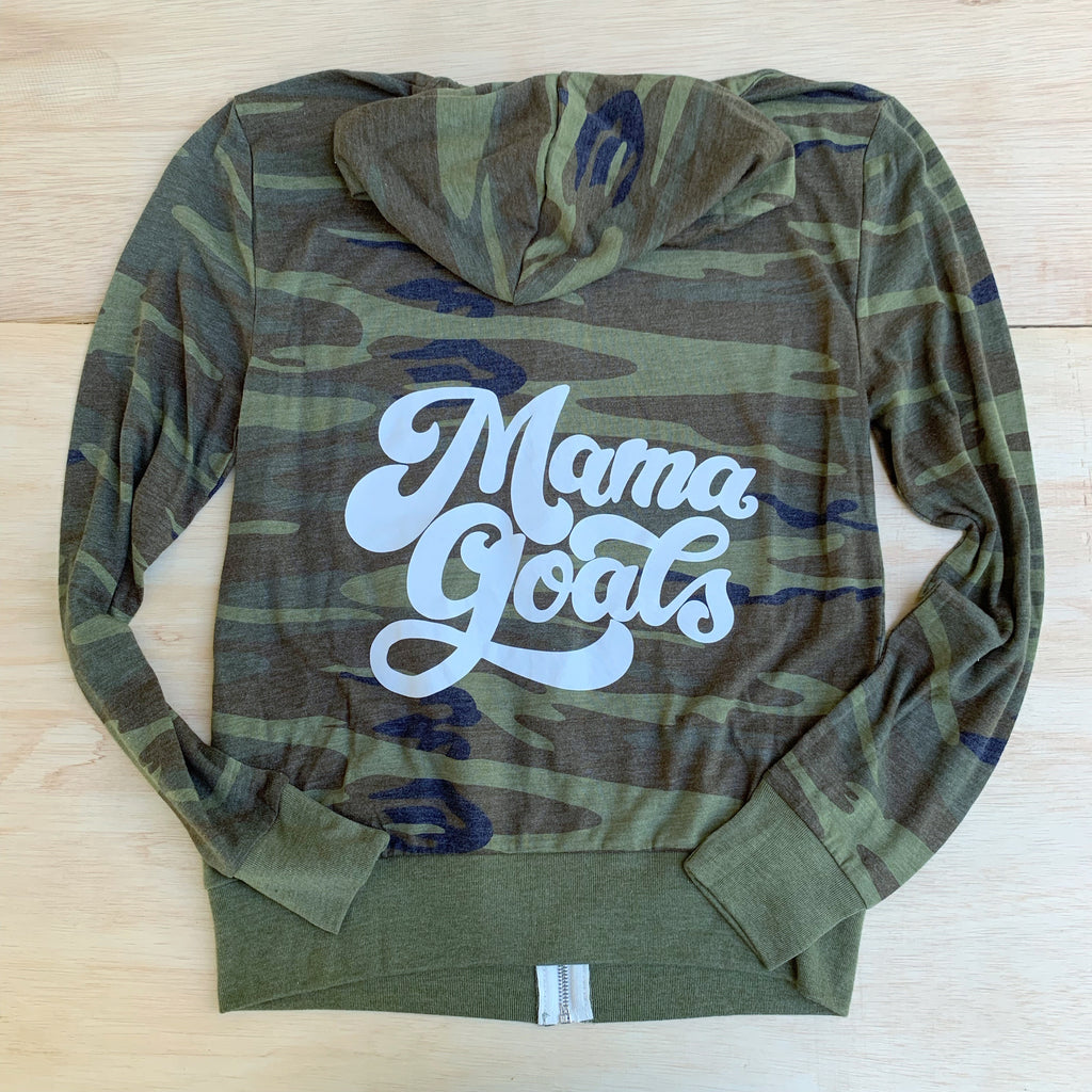 Mama Goals - Unisex Lightweight Camo + White Zip-Up-Little Hooligans Co.
