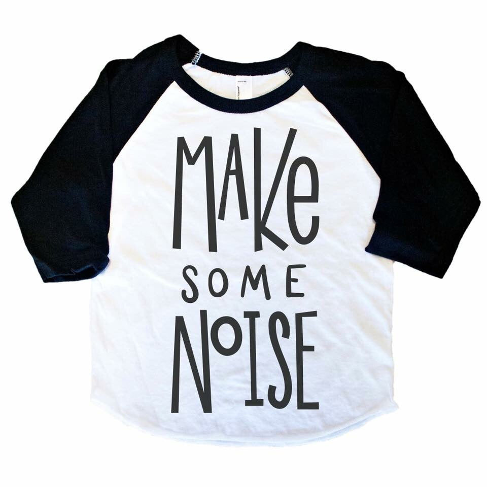 Make Some Noise - Black/White Raglan-Little Hooligans Co.