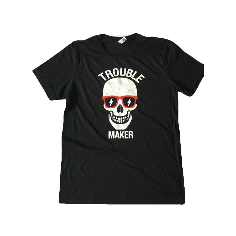 Trouble Maker - Black Unisex Triblend Tee-Little Hooligans Co.