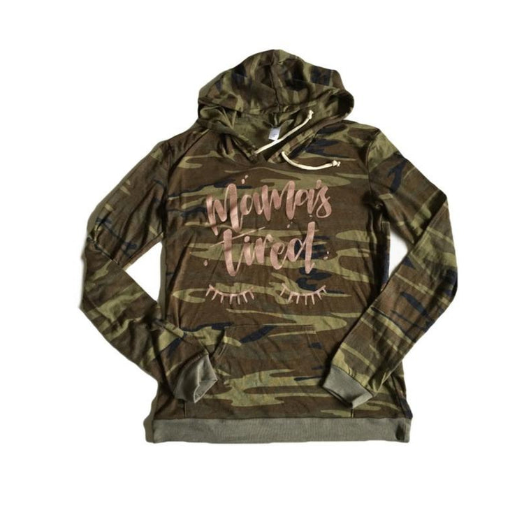 Camo & Rose Gold - Mamas Tired hoodie