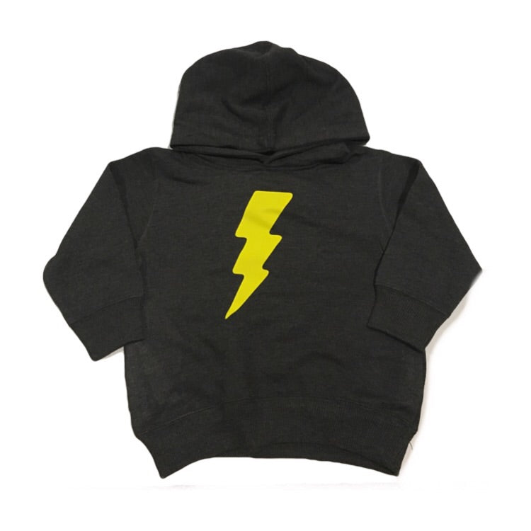 Yellow Lightening Bolt - Fleece Hoodie-Little Hooligans Co.