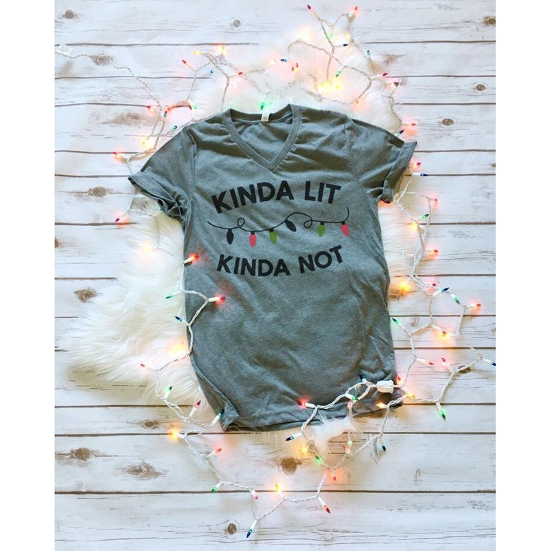 Kinda Lit, Kinda Not - Unisex V-Neck {pre-order} - Little Hooligans Co.