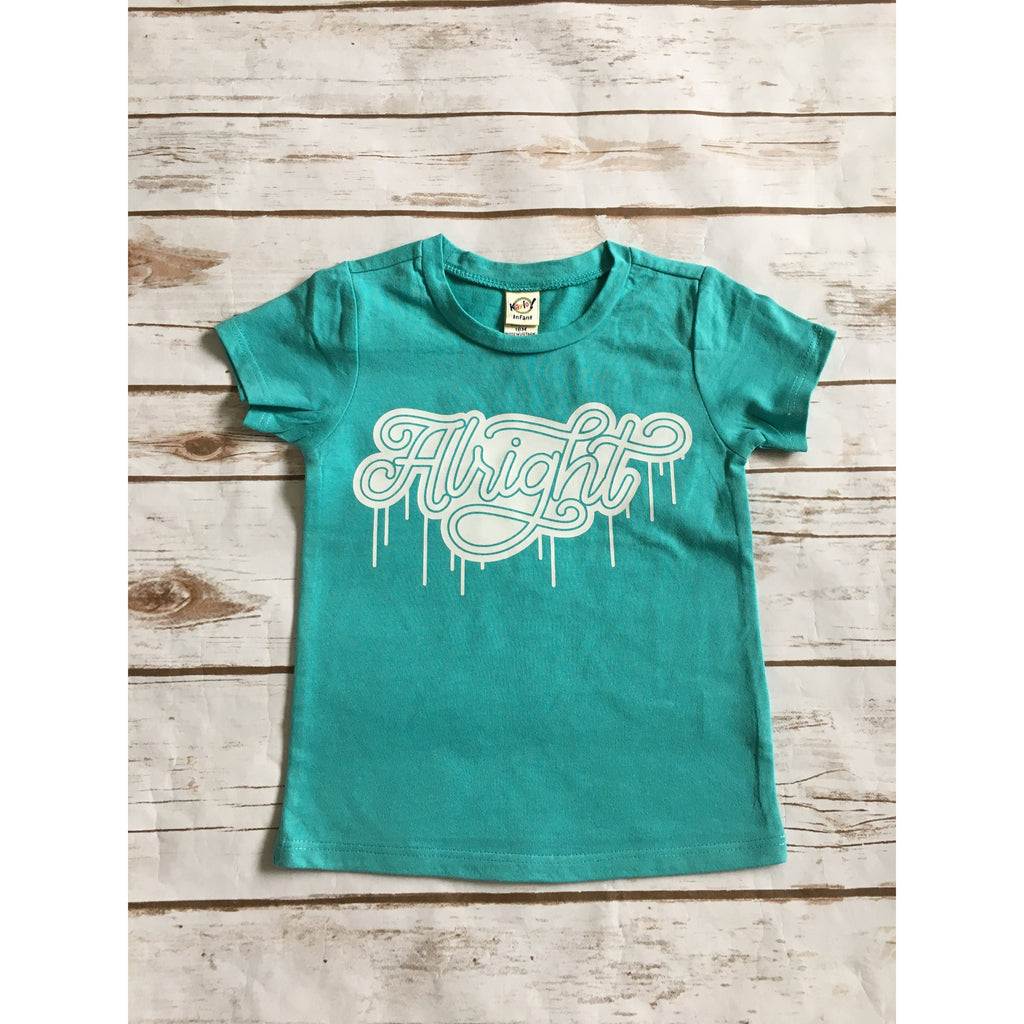 Alright - White + Teal Kids Tee-Little Hooligans Co.