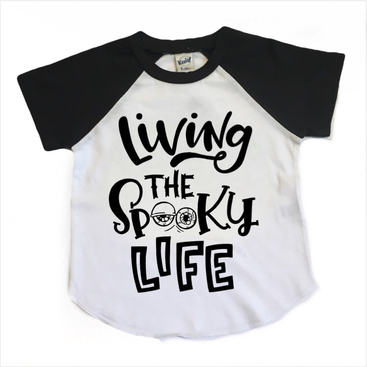 Living the Spooky Life - Kids Short Sleeve Raglan-Little Hooligans Co.