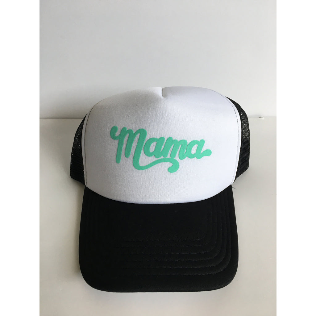 Mama - Mint + Black/White Snapback-Little Hooligans Co.
