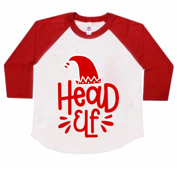Head Elf Raglan - Kids {pre-order} - Little Hooligans Co.