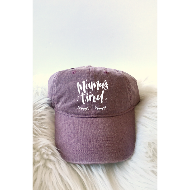 Mamas Tired - Wine + White (embroidered)-Little Hooligans Co.