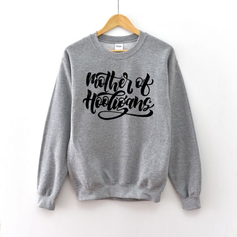 Mother of Hooligans (Grey + Black) - Unisex Fleece Pullover-Little Hooligans Co.