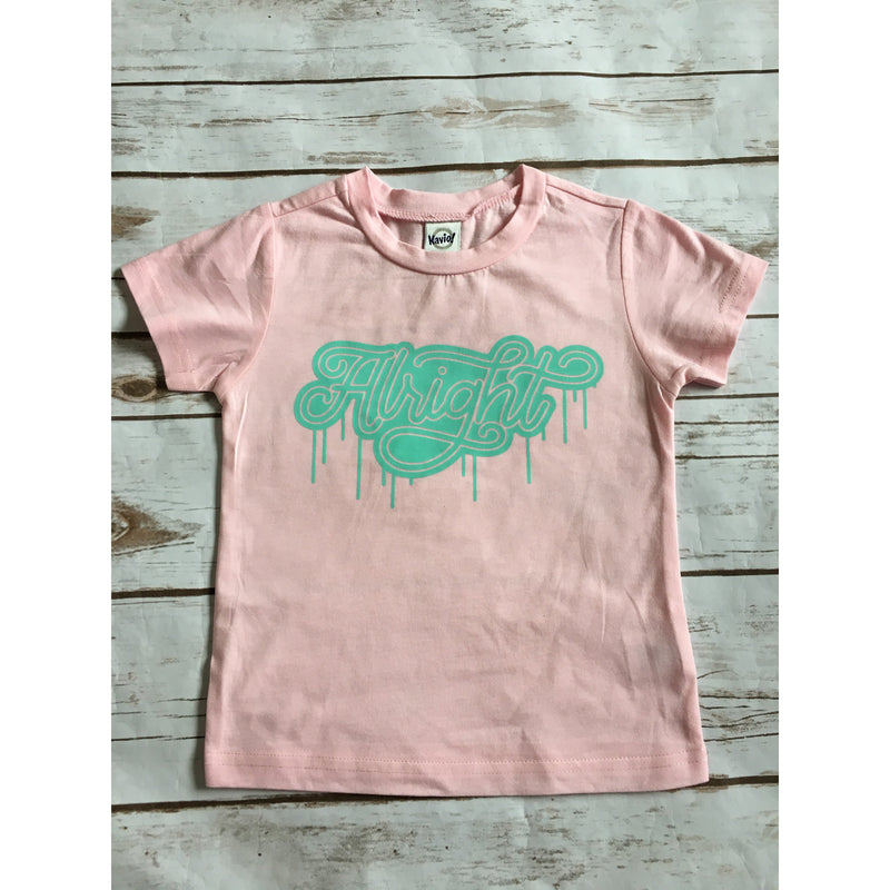 Alright - Pink + Teal Kids Tee-Little Hooligans Co.