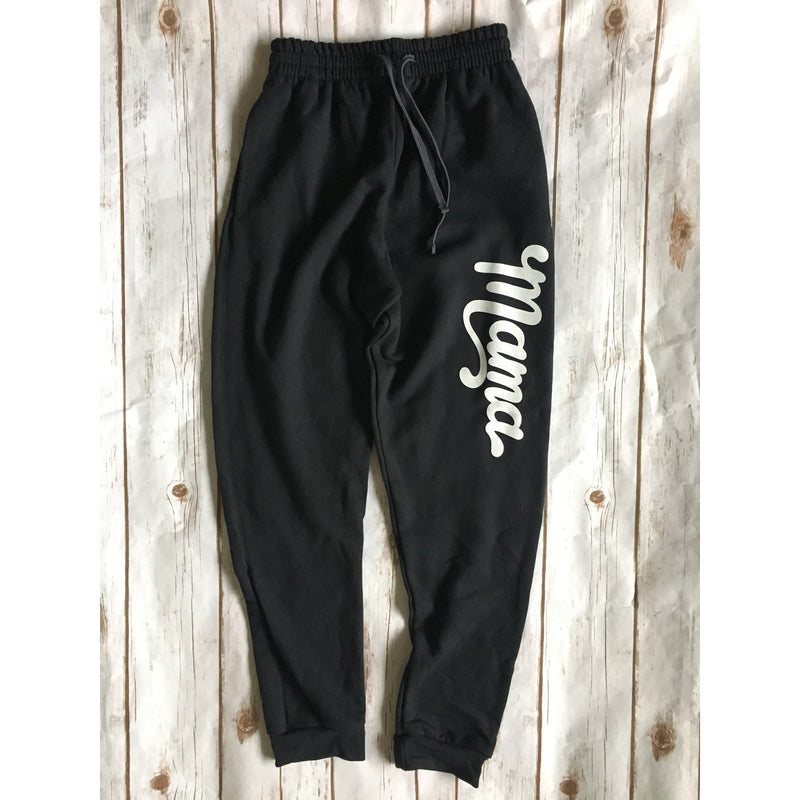 Unisex Mama Joggers - White + Black-Little Hooligans Co.