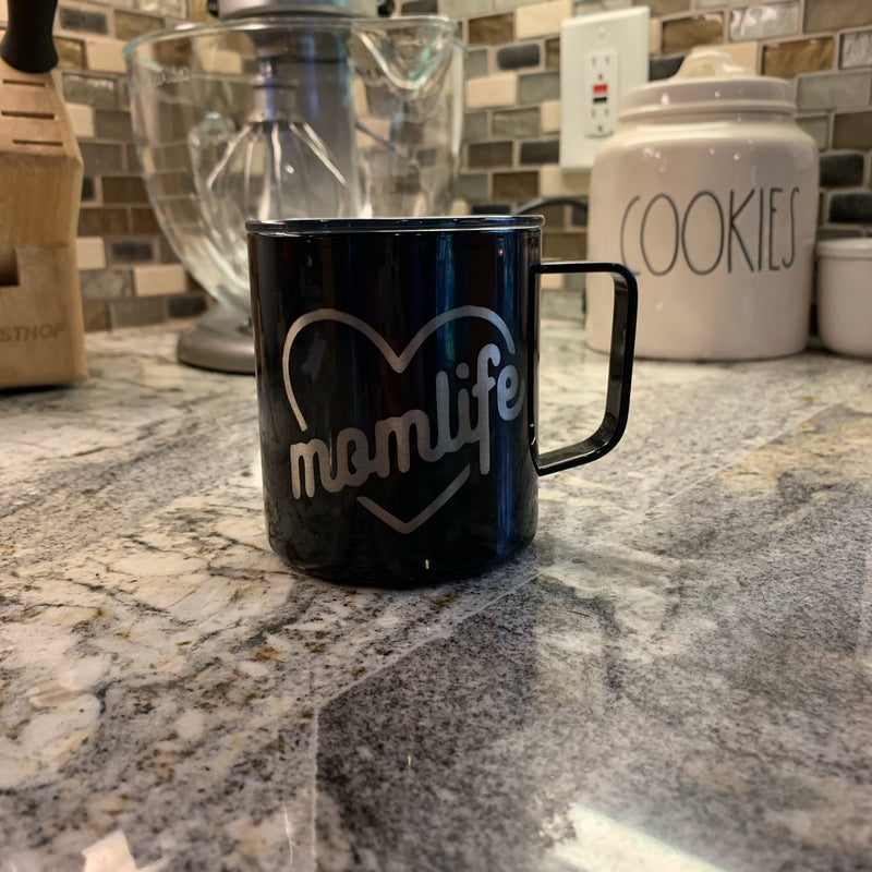 Mom Life - Black Stainless 12oz Mug-Little Hooligans Co.